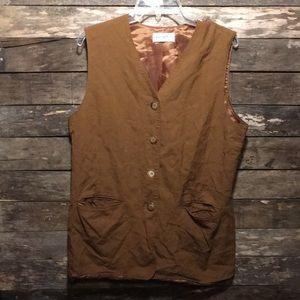 Ladies' Linen & Rayon Button Down Vest Steampunk